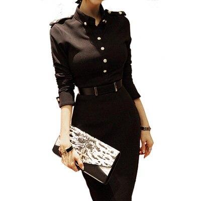 Новый корейский стиль осень-зима женский, черный офисные Повседневная обувь элегантное платье Водолазка Тонкий Bodycon Платья для вечеринок
