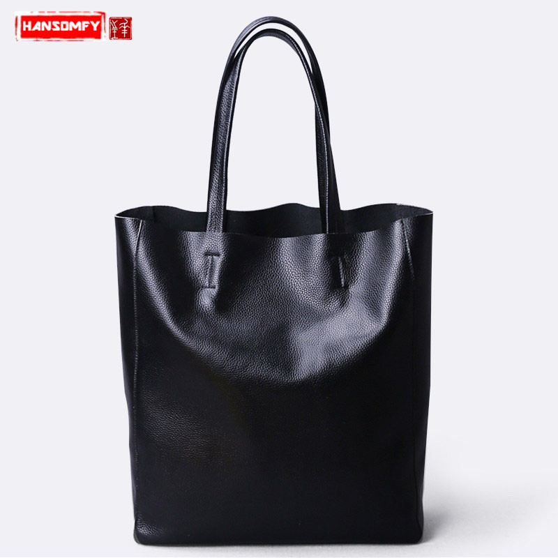Luxury Fashion New Women Handbags genuine leather female shoulder bag big first layer cowhide simple large capacity tote bags big capacity high quality canvas shark double layers pen pencil holder makeup case bag for school student with combination coded lock