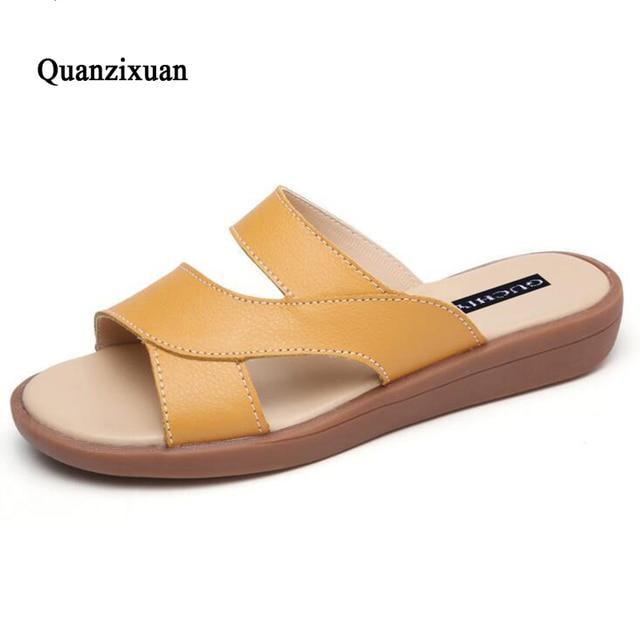 Sandalias De Cuero Nuevas Mujeres Verano Genuino Moda U0wxna5SOq