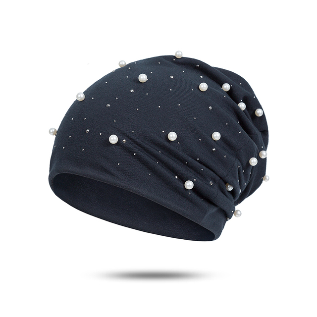Hot Sell Women's Beanie Hat Casual Polyester Shine Pearls Rhinestones Beanies Winter Hat For Women Skullies Beanies Cap