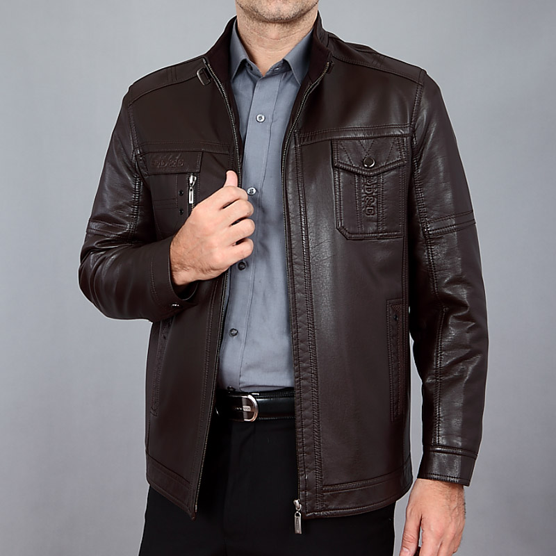 Winter Men's Leather Jacket 2017 New Male Stand Collar Casual Leather Jacke Men Motorcycle Leather Jacket Men's Brand Clothing