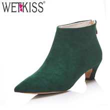 2017 New Arrival Ankle Boots Suede Winter Boots Med Strange Heel Female Footwear Back Zip Women Shoes Plus Size 33-43