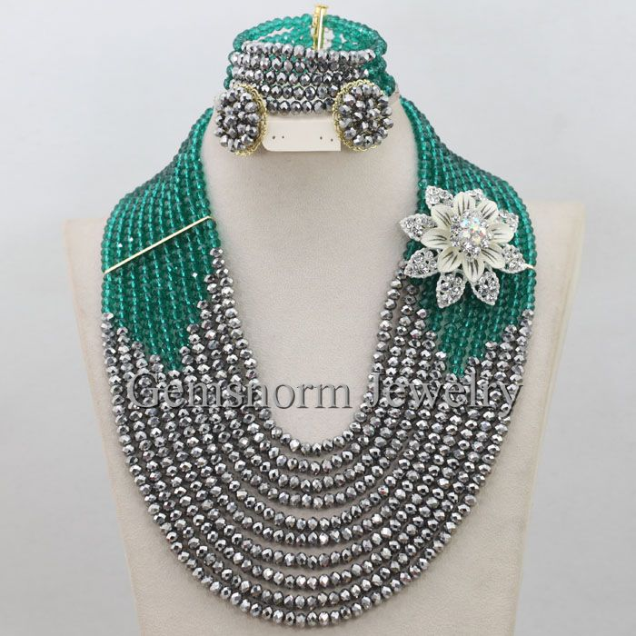 Online Shop New Teal Green Silver African Beads Jewelry Set 10 ...