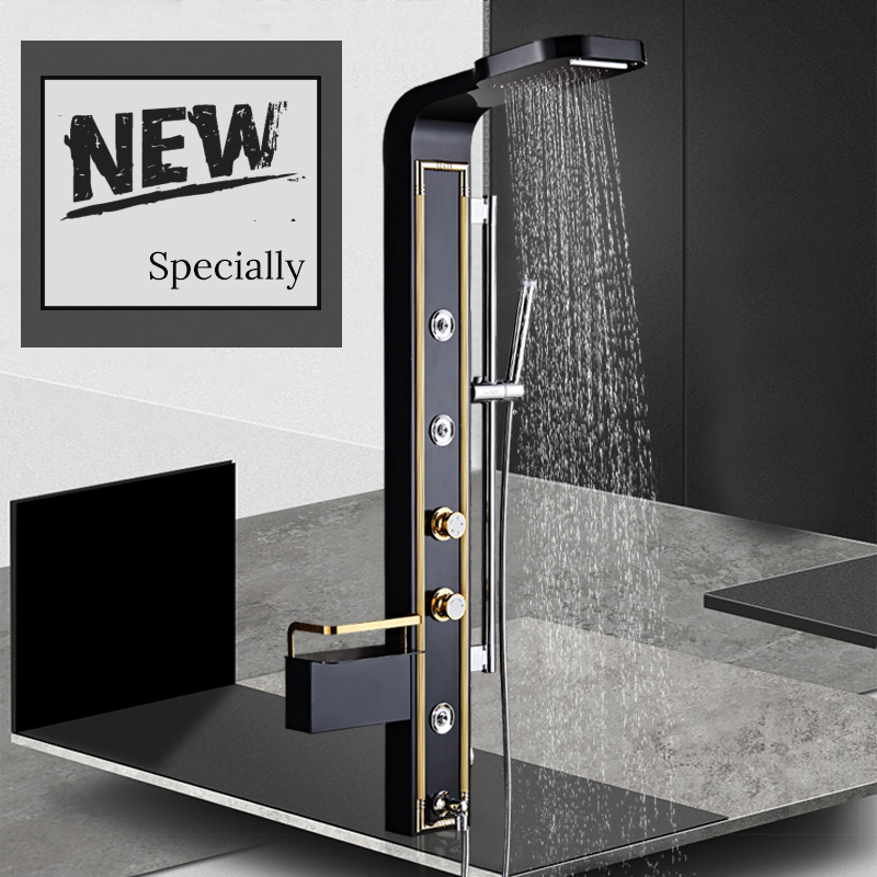 Black/White Stainless Steel 5-function Waterfall Rain Shower Panel with Massage System Tub Spout and Handshower Shower Column