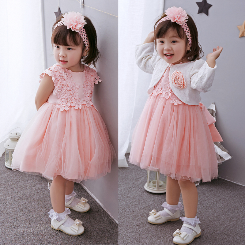 2019 Formal Elegant Baby Dress For 1 2 Year Old Birthday White And Pink Flowers Party Vestido Toddler Clothing ABF164717 In Dresses From Mother Kids