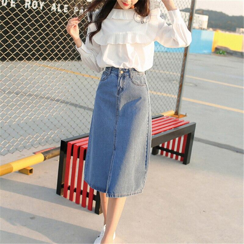 comprar denim falda para las mujeres pantalones vaqueros falda larga estudiantes chicas vaqueros de cintura alta de split delgado maxi