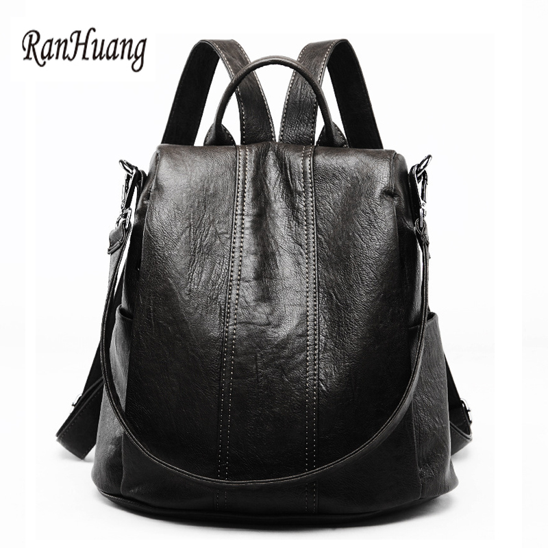 RanHuang New 2018 Women Genuine Leather Backpack Large Travel Bags School Bags For Teenagers Girls Casual Backpack mochila A1175 nice new casual girls backpack genuine leather fashion women backpack school travel bag teenagers girls cowhide shoulder bags