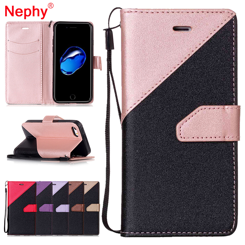 Nephy Wallet Case for iPhone 6 6S 7 Plus 5 5S SE Smartphone Cover Filp Double Splice Leather Housing Book Style Phone Bag Coque