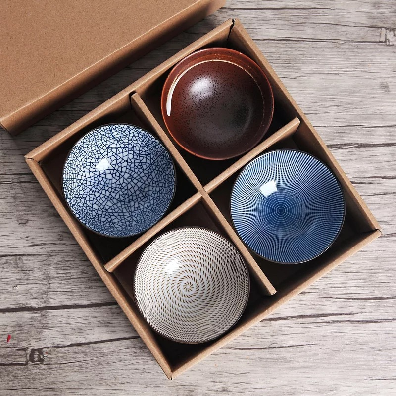 Set of 4 Japanese Traditional Style Ceramic Dinner Bowls Porcelain Rice Bowls with Gift Box Dinnerware Set Best Gift 4.5inch
