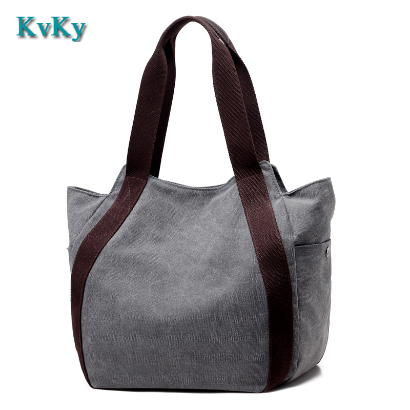 KVKY Canvas Bag Tote Striped Women Handbags Laides Shoulder Bag New Fashion Sac a Main Femme De Marque Casual Bolsos Mujer