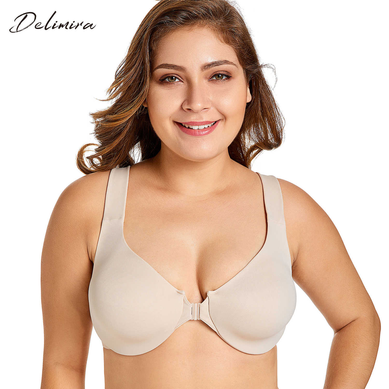 Delimira Women's New Seamless Full Coverage Non Padded Front Closure Bra