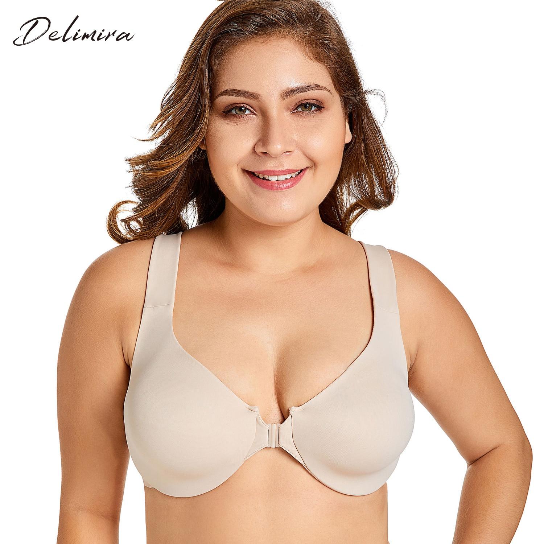 Delimira Women's New Seamless Full Coverage Non Padded Front Closure Bra