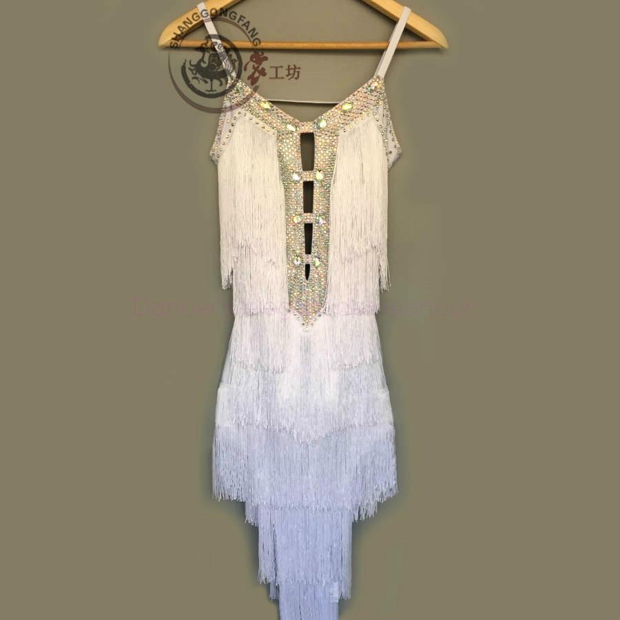 Gaya baru tari latin kostum, Batu rumbai seksi gaun dansa latin untuk wanita, Gaun kompetisi dansa latin, A90 S-4XL