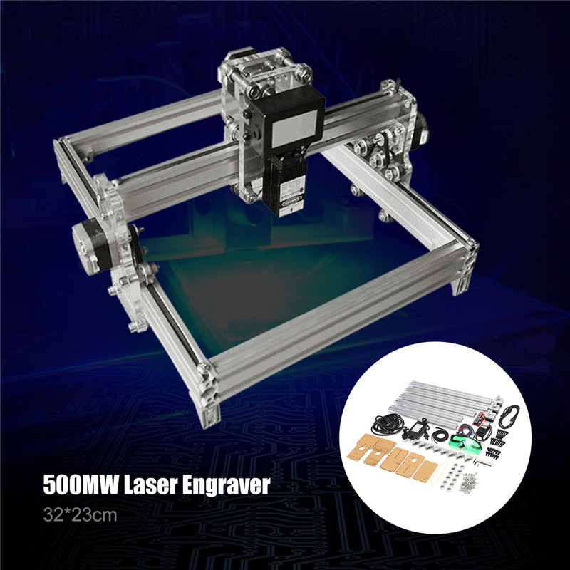 32x23cm 500mW Mini DIY Desktop CNC Carving Laser Engraving Engraver Machine DC 12V Wood Cutter/Printer Kit + Laser Goggles jz 5 diy 500mw mini usb laser engraving machine stamp carving machine laser cutter for windows xp 7 8 10