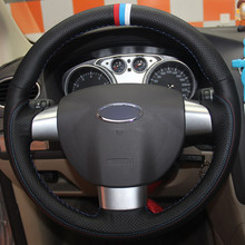 Black Natural Leather Red Light Blue White Marker Car Steering Wheel Cover for Ford Focus 2 2005-2011 (3-Spoke)(China)