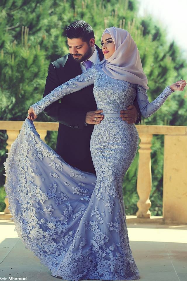 Encanto Púrpura/Rosa Árabe Musulmana de Manga Larga de Encaje Sirena Vestidos de