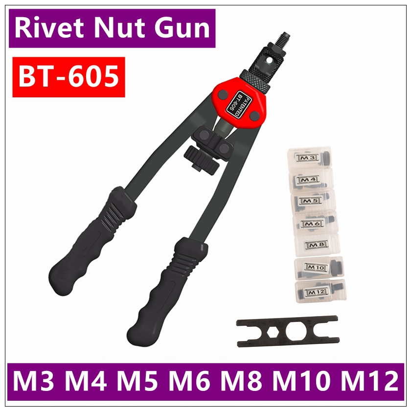 BT - 605 Manual Pull Rivet Nut Gun Riveting Tools M3 / M4 / M5 / M6 / M8 / M10 / M12