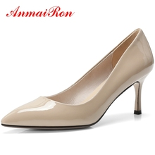 ANMAIRON  Genuine Leather  Pointed Toe  Shoes Woman High Heel  Casual  Slip-On Pumps  Zapatos Mujer Tacon Size 34-39 LY373 genuine leather pointed toe shoes woman slip on flat comfortable single casual flats spring autumn size 35 44 zapatos mujer
