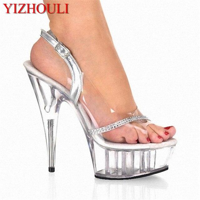 2f8104c406ccf7 6 pouces talons hauts Sexy cristal Noble diamant chaîne bout ouvert sandales  tout Transparent 15 cm