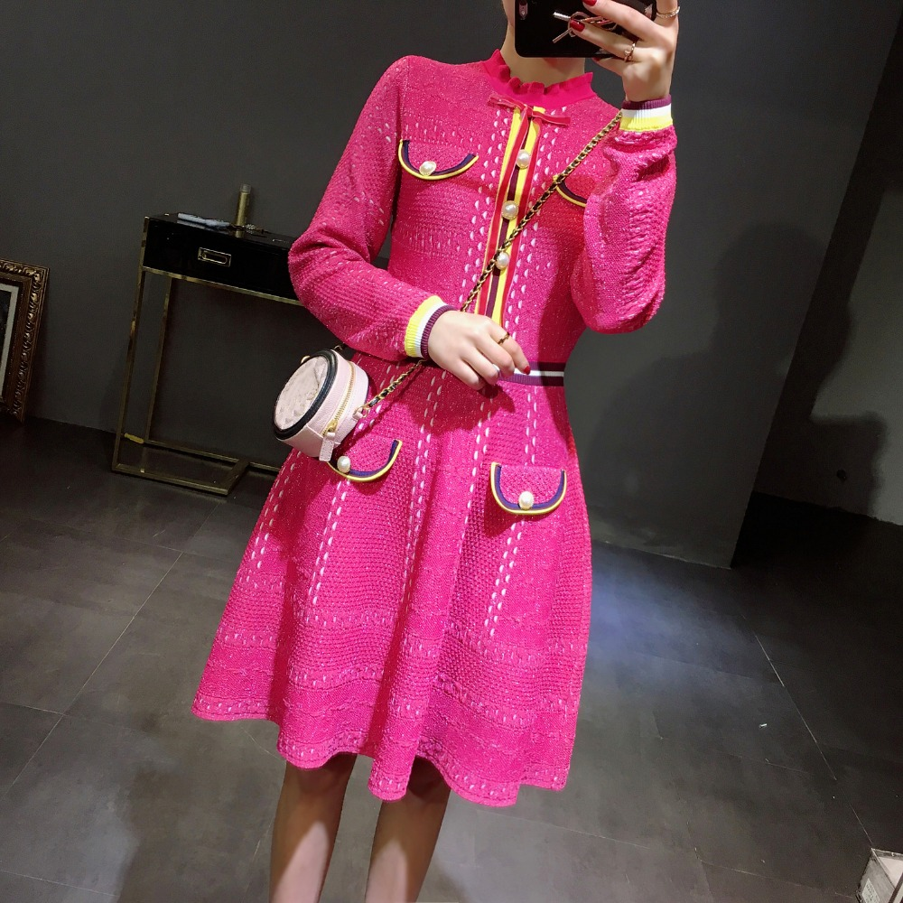 2018 Chic Ruffled Neck Long Sleeve Sweater Dress OL Rose Pink with Buttons Pockets Striped Knit Dress A line Women Dress Elegant