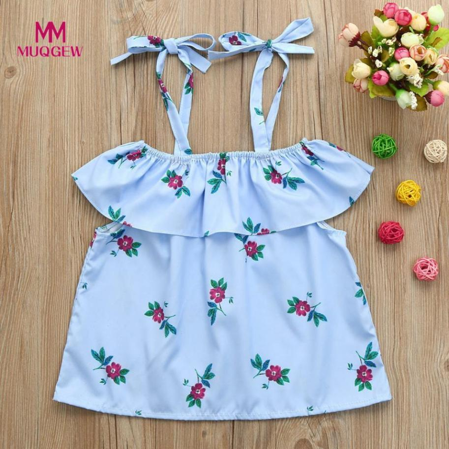 Mommy Me T-Shirt Baby Girl Floral Print Sleeveless Ruffles T-Shirt Square Collar Tops Family lovely Cute Clothes T-shirts para