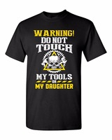 Linen Shirts Crew Neck Novelty Short Mens Warning Do Not Touch My Tools Or My Daughter