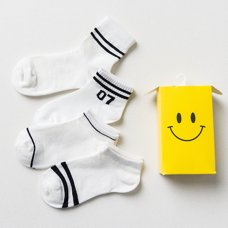 Gift Box spring summer fashion stripes number patterns short cotton socks for women ankle compression socks female 4pairs/box