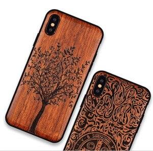 Image 2 - Novo para o iphone xs max caso de madeira fina capa traseira tpu pára choques caso para iphone xs xr x iphone xs max casos de telefone