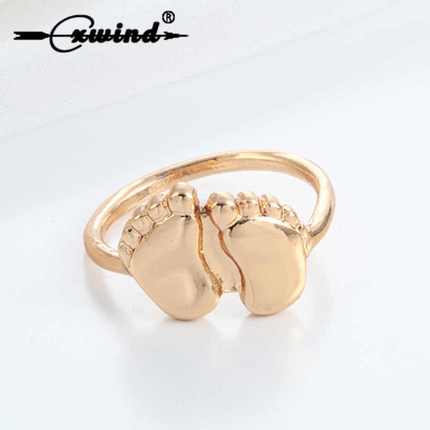 Cxwind Cute Two Feet Ring Gold Fashion Baby Feet Shape Rings Children Statement Jewelry Gift Unisex Finger Around Rings Jewelry