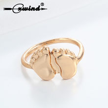 Cxwind Cute Two Feet Ring Gold Fashion Baby Feet Shape Rings Children Statement Jewelry Gift Unisex Finger Around Rings Jewelry(China)