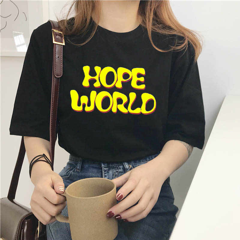 col roul Female T-shirt harajuku t shirt women gothic hope world clothes tshirt dropshipping tops clothes friends vlone mesh top