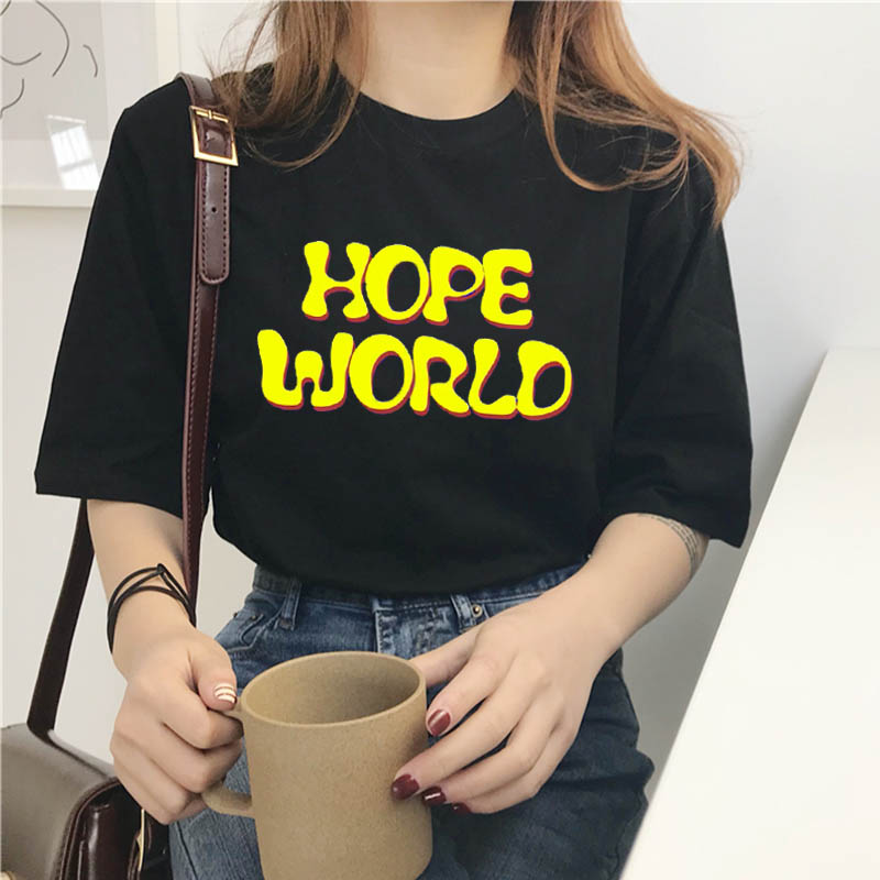 Female T-shirt Harajuku Gym Gothic Hope World Clothes T Shirt Women Tops Friends Vlone Vintage Stranger Things Ariana Grande