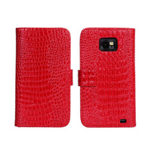 Luxury Crocodile PU Leather Wallet Case For Samsung I9100 Galaxy S2 II Plus I9105 Stand Cover