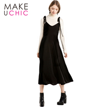 MAKEUCHIC Apparel 2017 Summer Women Dress Sexy Black Drawstring Casual Velvet Dress Elegant Solid Black Cami Strap Vestidos
