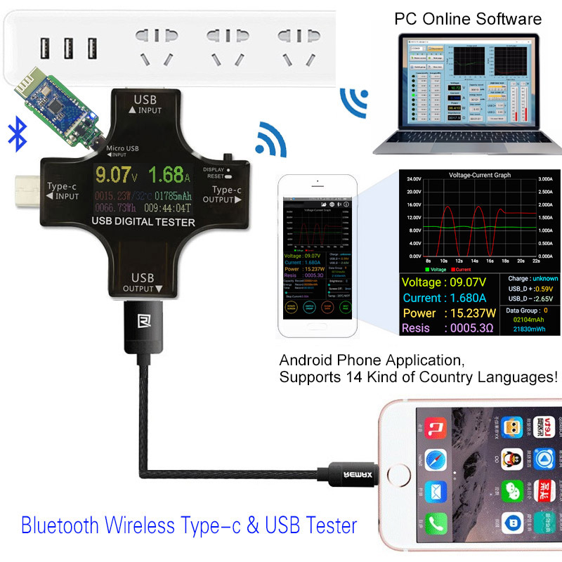 Color TFT USB tester Bluetooth Type-C PD Digital voltmeter voltage current meter ammeter detector power bank charger indicator tes 1333 solar power meter digital radiation detector solar cell energy tester