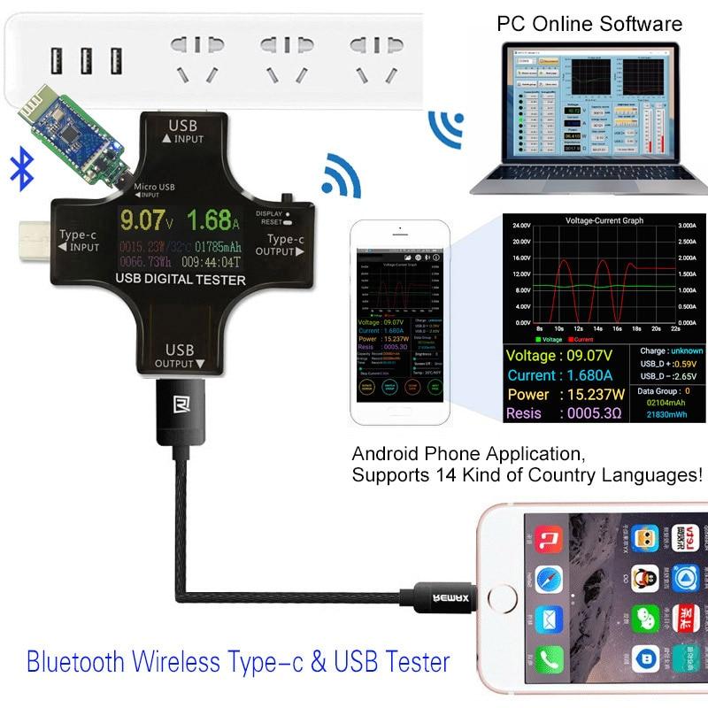 Color TFT USB tester Bluetooth Type-C PD Digital voltmeter voltage current meter ammeter detector power bank charger indicator