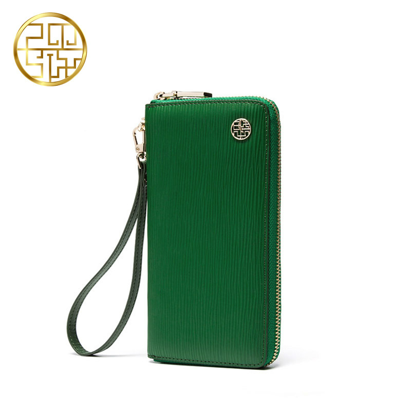 Pmsix Genuine Leather Youth Fashion Solid Stripe Long Standard Womens Wallets And Purses Green Clutch Coin Purse Wallet Bag