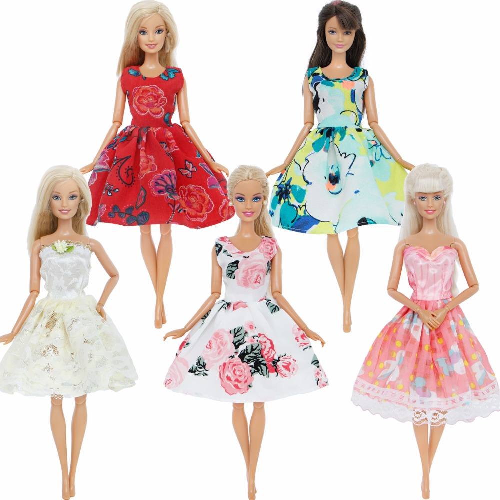 Handmade Fashion 5 x Beautiful Princess Dresses Wedding Party Mini Gown Clothes For Barbie Doll Accessories Christmas Gift Set random style fashion blue handmade doll dresses for girl xmas gift doll clothes accessories