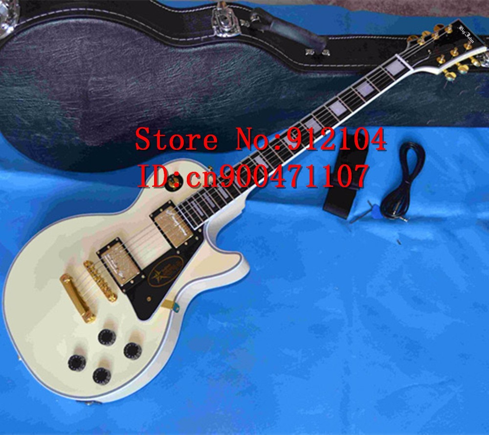 free shipping new Big John LP electric guitar with mahogany body and ebony fingerboard milk yellow custom electric guitar F-1399 chibson lp custom small jazz electric guitar body ebony fingerboard with f hole semi hollow body in aged sunburst 110813
