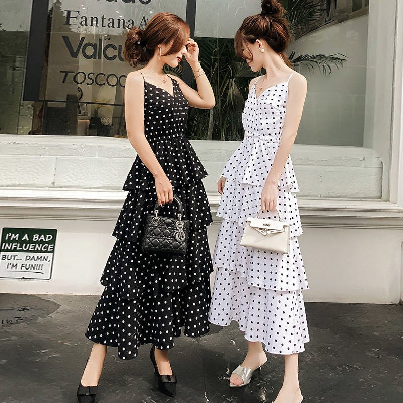 Elegant Retro Dot Print Summer Dress Fashion Large Women V neck Sleeveless Casual Dress Women Wave Point Vestidos Party Holiday in Dresses from Women 39 s Clothing