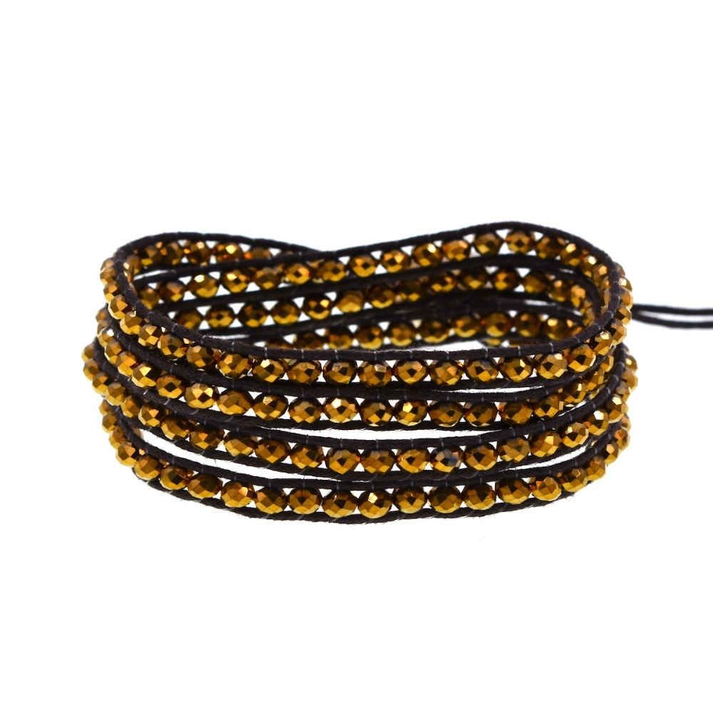 Gold Crystal Beaded on Brown cord 4 Wrap Bracelet Fashion Chain Jewelry