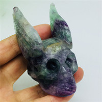 Colorful Natural Fluorite Crystal Skull Hand Carved With Angel Wings Home Decoration Gemstone Collection Reiki Stone
