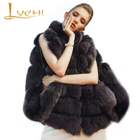 LVCHI Simple real fur fox Female waistcoats,Vintage Roman gray loose wide waisted Bat sleeved Genuine fur coat,new furs vest