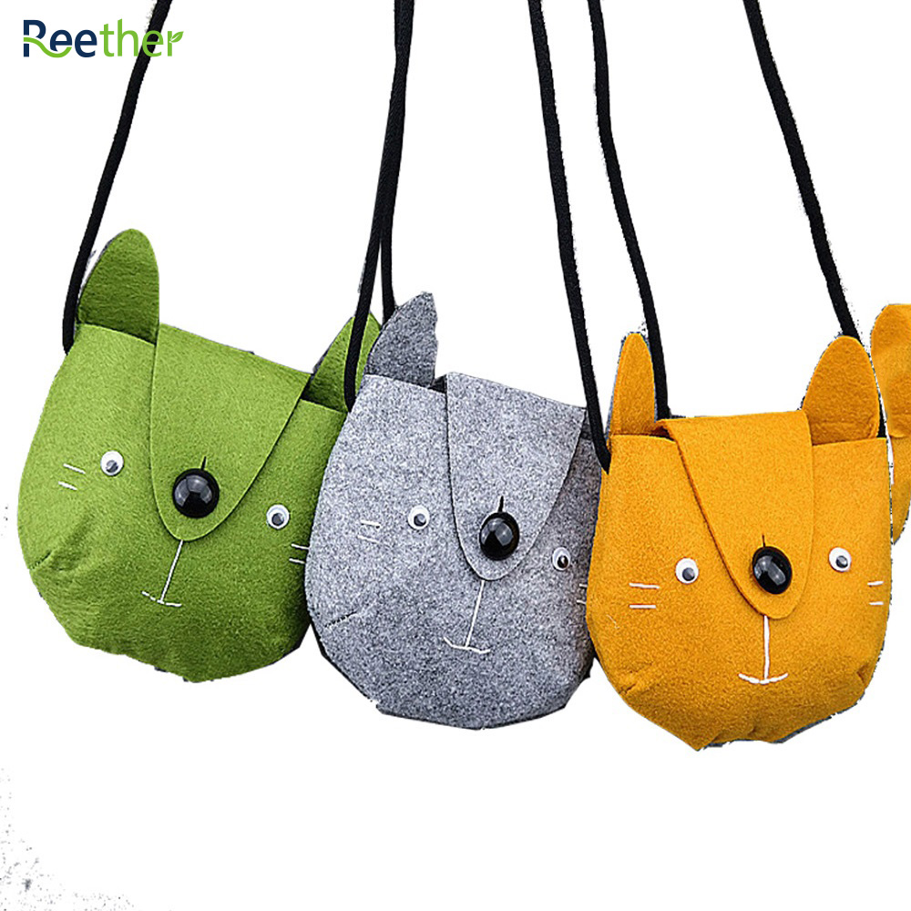 Reether Girls Non-woven Coin Purse Dimensional Dog Shape Cash Bags Childrens Mini Shoulder Bag Charge Wallet Cute Pouch Package