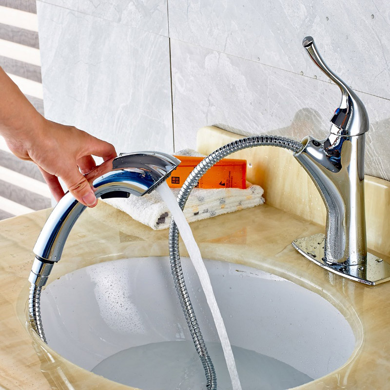 Chrome Finished Deck Mounted Bathroom Sink Faucet Single Handle Pull Out Mixer Tap With Cover Plate стоимость