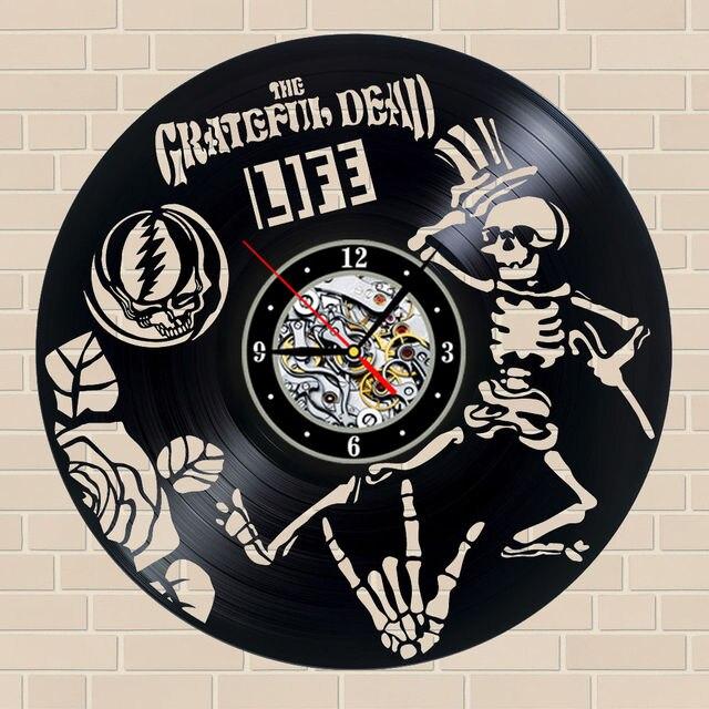 Grateful Dead Vinyl Clock Skull Design Made Of Vinyl Record Vintage Creative Home Wall Decor Art & Grateful Dead Vinyl Clock Skull Design Made Of Vinyl Record Vintage ...