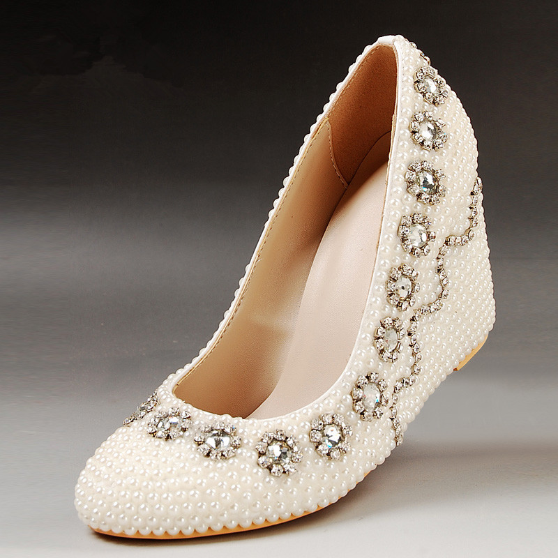 Fashion Plus Size Genuine Leather White Pearl Wedding Shoes Rhinestone  Wedges Bridal Shoes Spring Handmade Diy Womenu0027s Pumps In Womenu0027s Pumps From  Shoes On ...