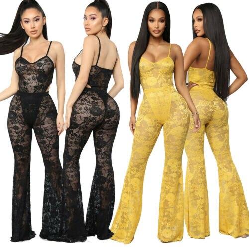 HIRIGIN Women   Jumpsuit   Romper Trousers Lace Bodycon Playsuit Clubwear Party Long Pants