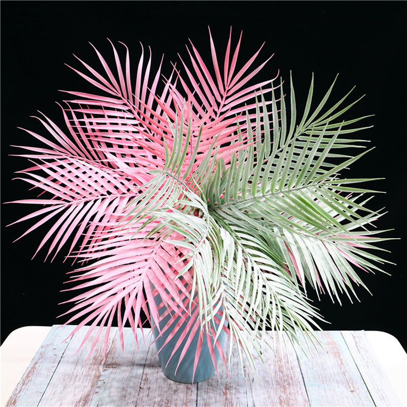 52cm 9Fork Fake Leaves Bouquet Artificial Palm Tree Branch Tropical Green Leaf Plastic False Plant For Hawaiian Party Room Decor in Artificial Plants from Home Garden