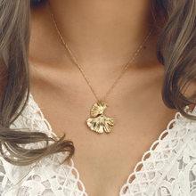 Collar con colgante de Ginkgo Biloba de dorado bohemio para mujer, cadena de oro retro, collar de hojas de Hojas simples, joyería para fiesta